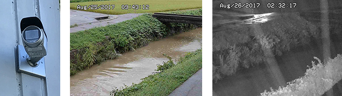水害対策として工場近隣下線の監視のためカメラを設置し、24時間スマホからも確認可能